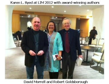 Karen L. Syed with award-winning authors David Morrell and Robert Goldsborough at LIM 2012